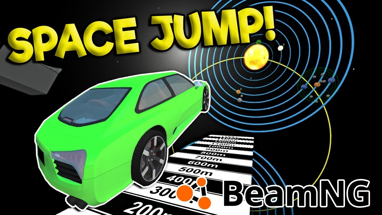 MASSIVE SPACE JUMP & CRASHES! - BeamNG Gameplay & Crashes - Car Games Mod