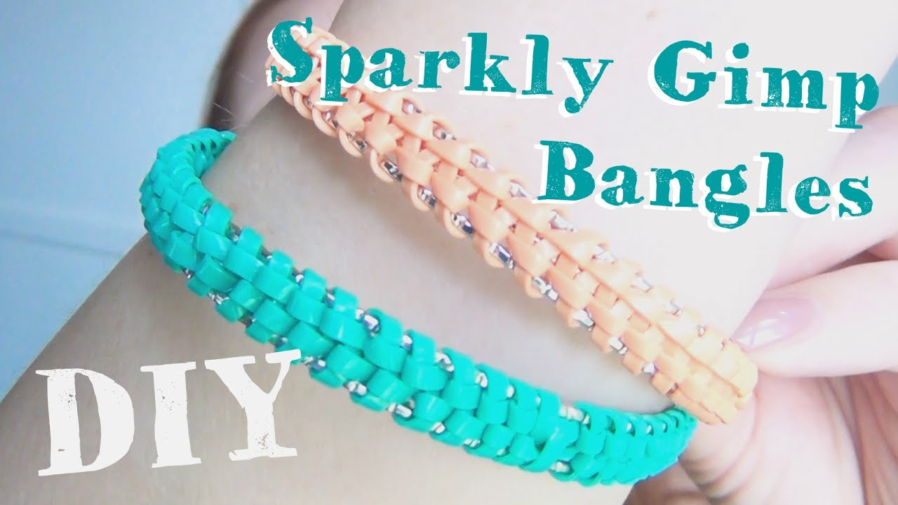 Diy Sparkly Gimp Bangles Plastic Lace Boondoggle Jewelry Youtube