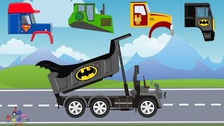Truck and Dump Truck | What Head ? Tow Truck, Excavator and Bulldozer | Street Vehicles For Kids