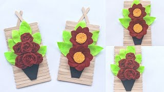 DIY POPSICLE STICK CRAFT IDEAS | BEAUTIFUL WALL DECORATION FROM ICE CREAM STICK