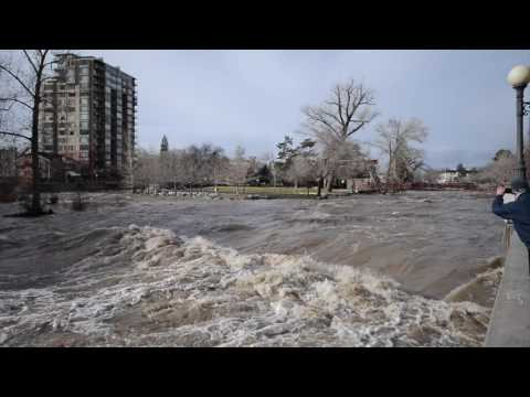 Truckee River nearly floods downtown Reno, Nevada.