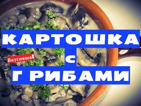 Картошка с грибами и сметаной жареная в мультиварке