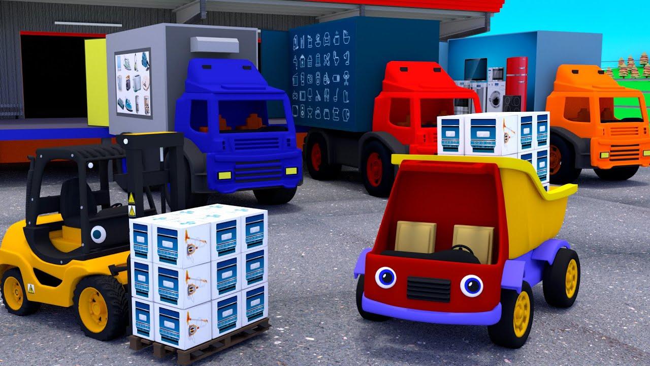 Грузовик Тема и вилочный погрузчик на складе бытовой техники. Мультики про машинки для детей.