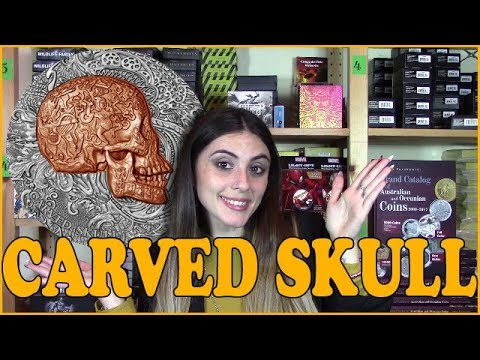 💀 CARVED SKULL 💀 REVIEW - Carved Skulls and Bones - 1 Oz Silver Coin - Cameroon  2017