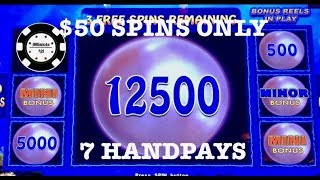 $50 SPINS ONLY (7) HANDPAYS ⚡️LIGHTNING CASH MAGIC PEARL HIGH LIMIT ⚡️LINK MOHEGAN SUN SLOT MACHINES
