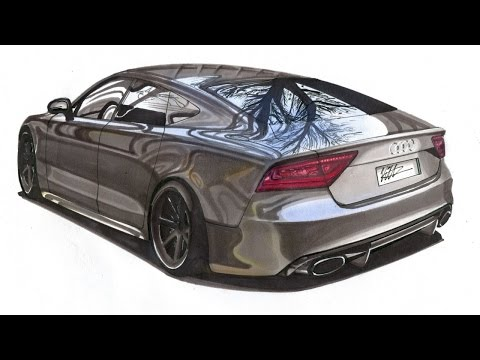 Realistic Car Drawing - Audi RS7 - Time Lapse