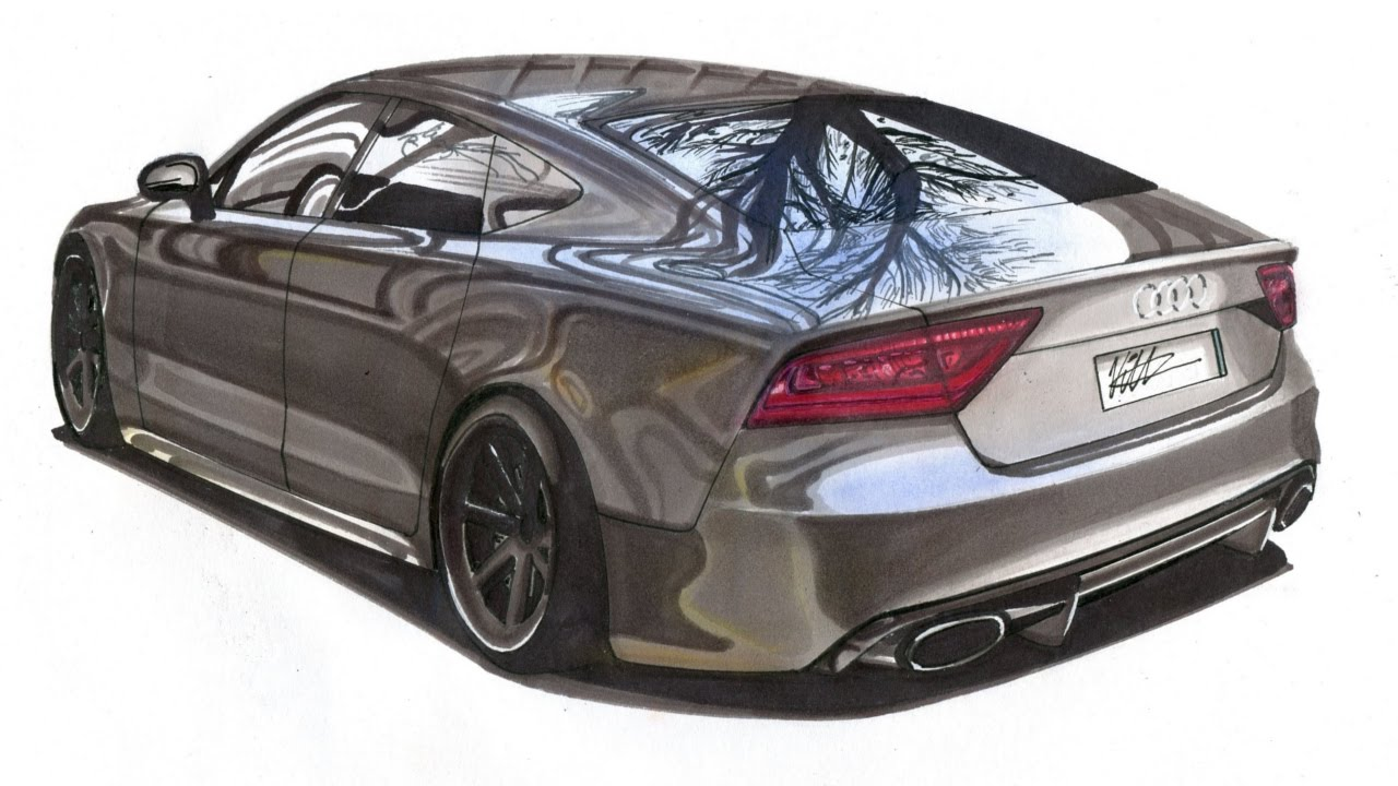 Realistic Car Drawing - Audi RS7 - Time Lapse - YouTube
