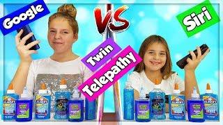TWIN TELEPATHY SIRI VS GOOGLE SLIME CHALLENGE !