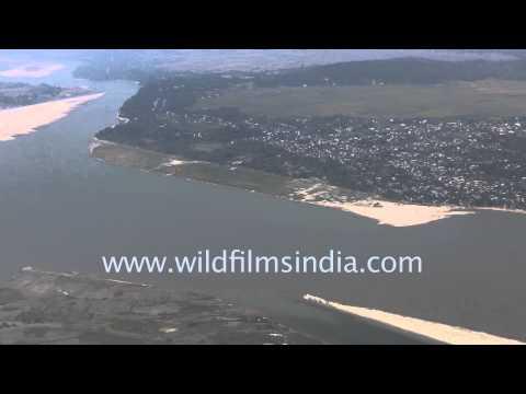 Mighty Brahmaputra river seen aerially