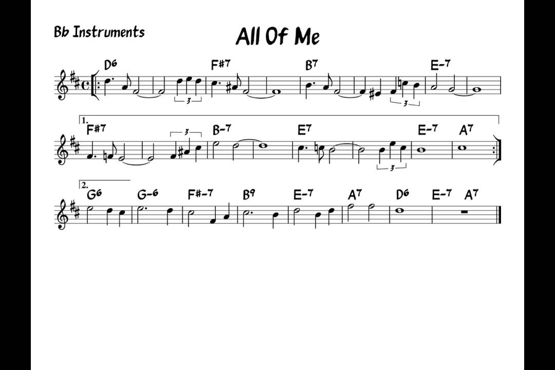 All Of Me Play Along Bb Version Youtube