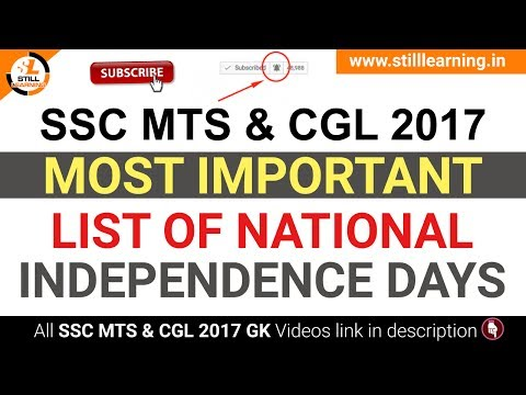 Most Important List of National  Independence Days GK, SSC MTS & CGL 2017 Most Important GK