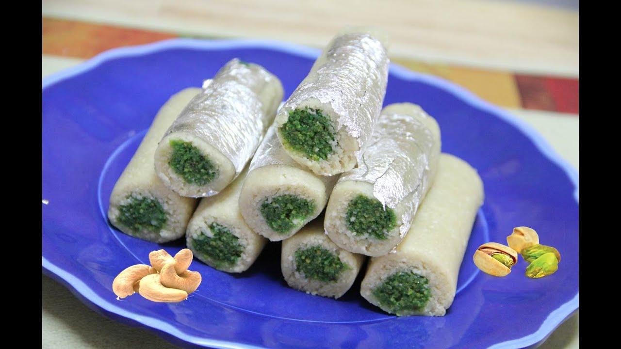 Kaju Pista Rolls Video Recipe  Diwali Recipe  Cashew