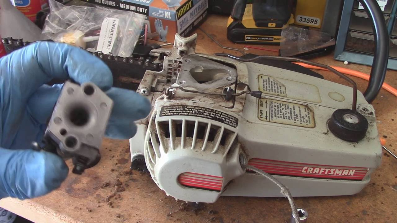 medium resolution of older craftsman chainsaw carb clean and fuel line 358 355140