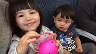Toys R Us Haul On Airplane | How To Keep 2 Kids Sharing 1 Seat Happy On 10 Hour Flight [4K]