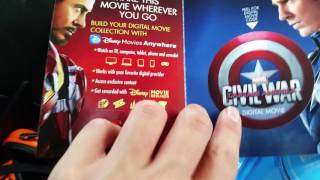 Unboxing Captain America Civil War Blu Ray 3d and dvd unboxing