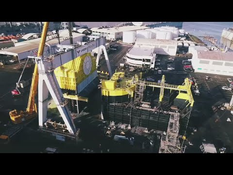 826-ton Ocean Energy Buoy nearing completion in Portland
