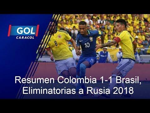 Resumen de Colombia 1-1 Brasil, por las Eliminatorias al Mundial Rusia 2018