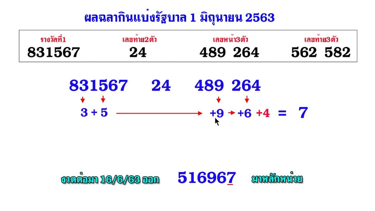 วิ่งบนตัวเดียว แนวทาง 16/07/63 (สูตรใหม่) สถิติ 6 งวดติด