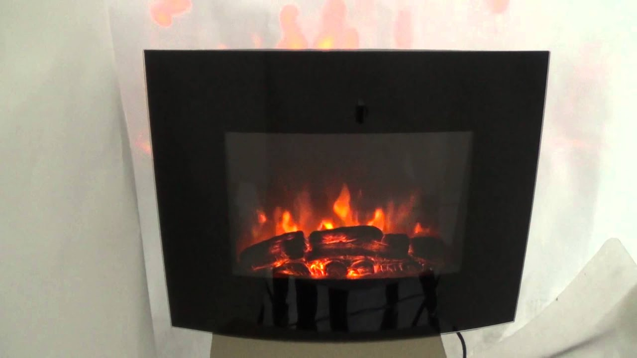 Electric Fire Wall Mounted Heater Fireplace Stove LED Log Burning Flame