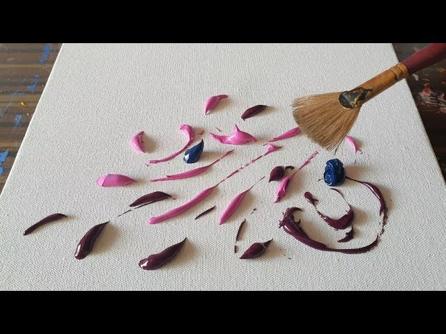 Simple Floral Abstract Painting Using Fan Brush Satisfying Demonstration Daily Art Therapy Day 026