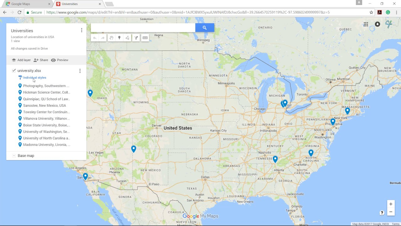 Plot location on Google Map from Excel file - YouTube