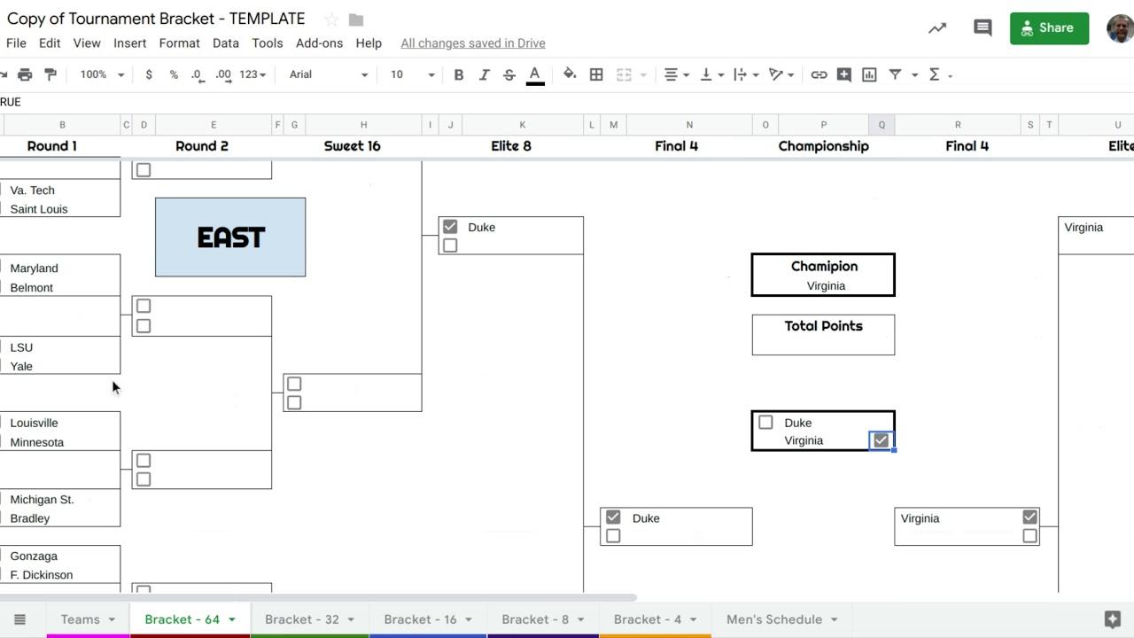 Google Sheets Tournament Bracket Tutorial