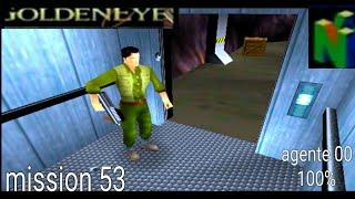 GoldenEye-007 (N64) Gameplay Walkthrough Mission 53 caverns Agente 00 Al 100% Truco 9:30 PC-P90