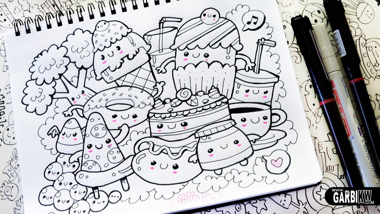 Kawaii food hello doodles easy and kawaii drawings by for How to draw doodles