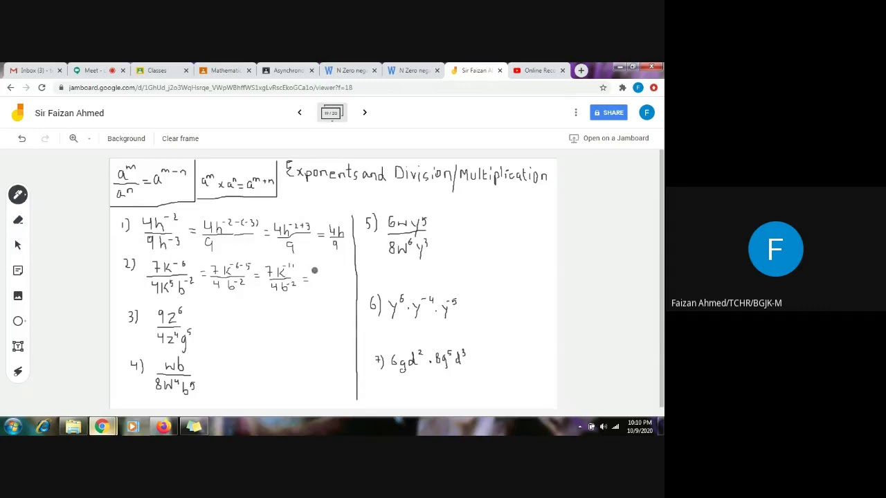 Grade 8- Solution of worksheet- Exponents in division and multiplication -  YouTube [ 720 x 1280 Pixel ]