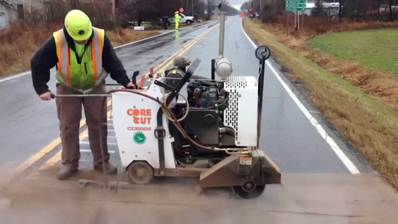 installing rumble strips with core cut cc6566 concrete saw youtube