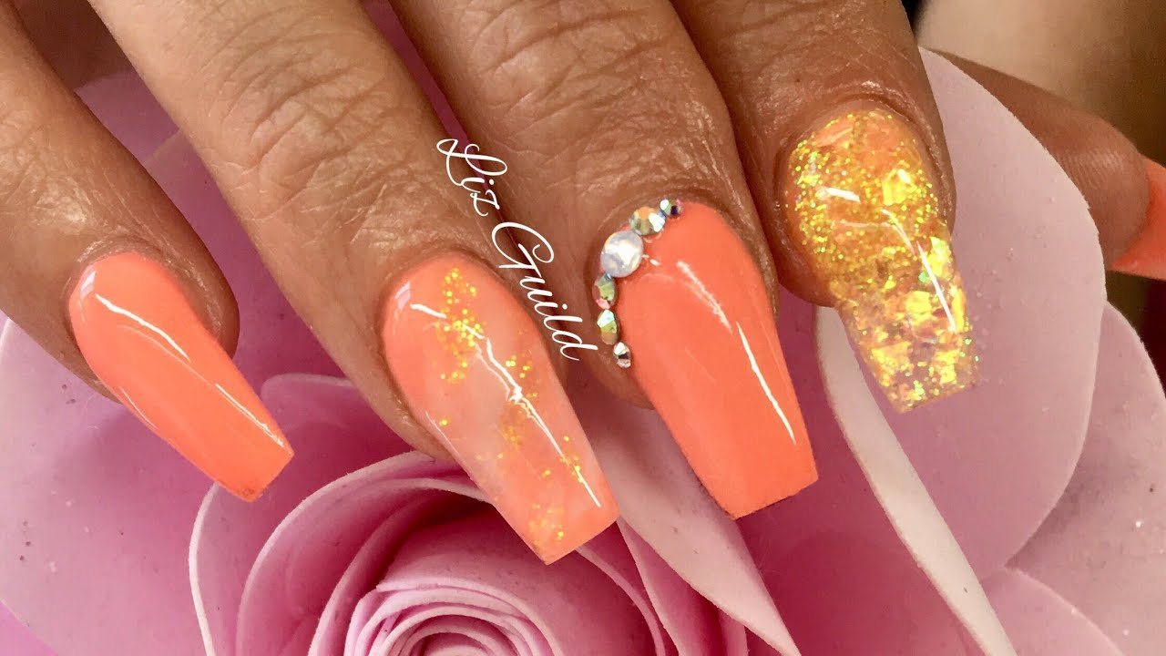 PEACH ACRYLIC NAILS | SUMMER NAIL DESIGN - PEACH ACRYLIC NAILS SUMMER NAIL DESIGN - YouTube