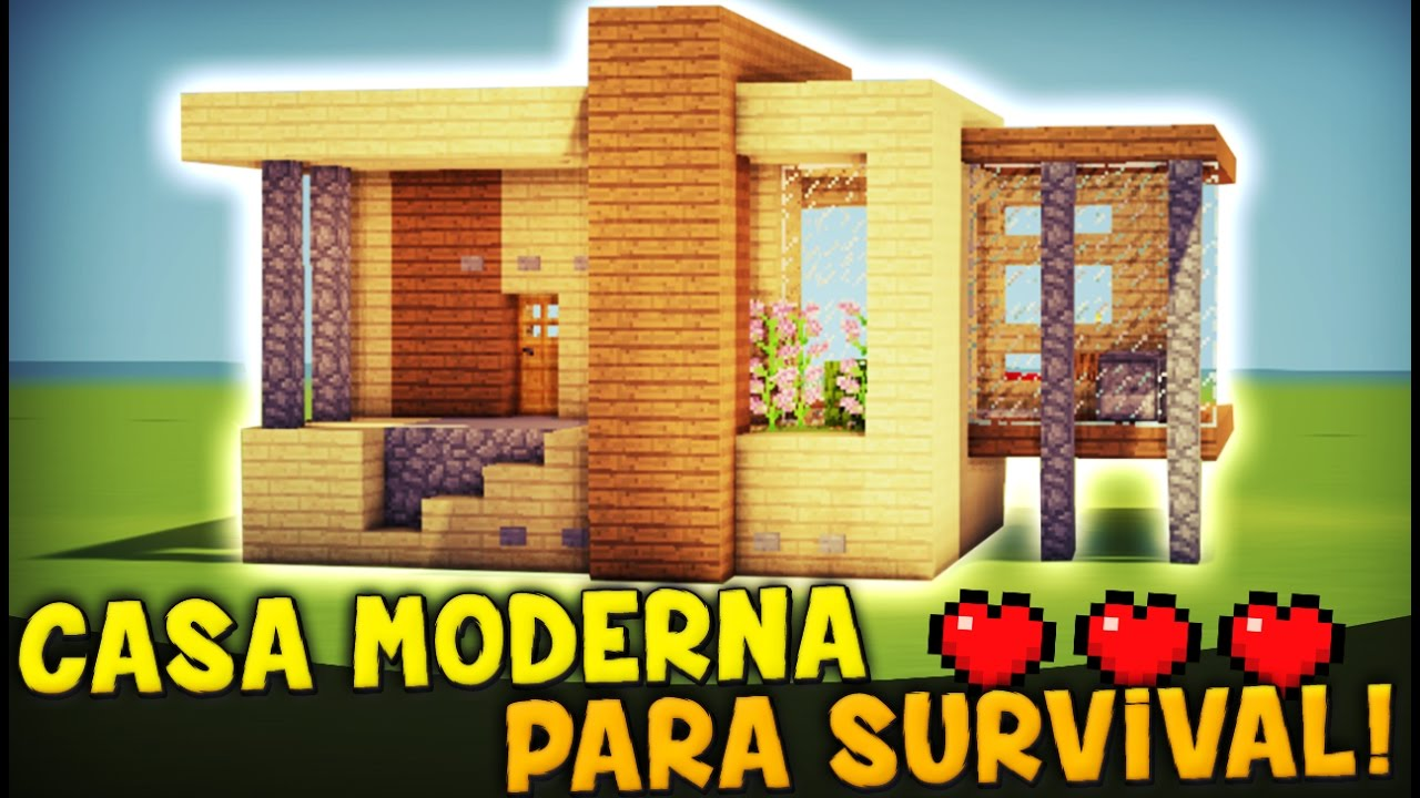 Minecraft como hacer una casa moderna para survival for Programa para disenar casas facil