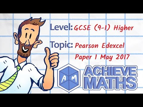 GCSE Maths Edexcel 1H Paper 1 May 2017 New levels 9 - 1 Higher Non-Calculator (complete paper)