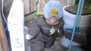 Федор на прогулке зимой, идет проверять кур и коз ( яванская макака)