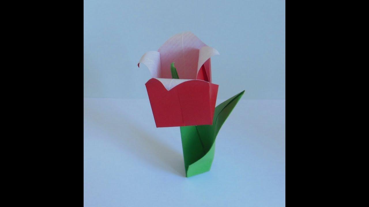 origami tulpe mit blatt youtube. Black Bedroom Furniture Sets. Home Design Ideas