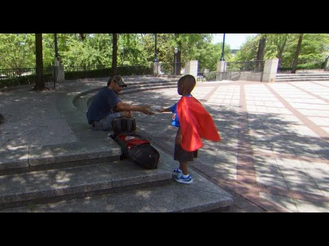 A four-year-old superhero