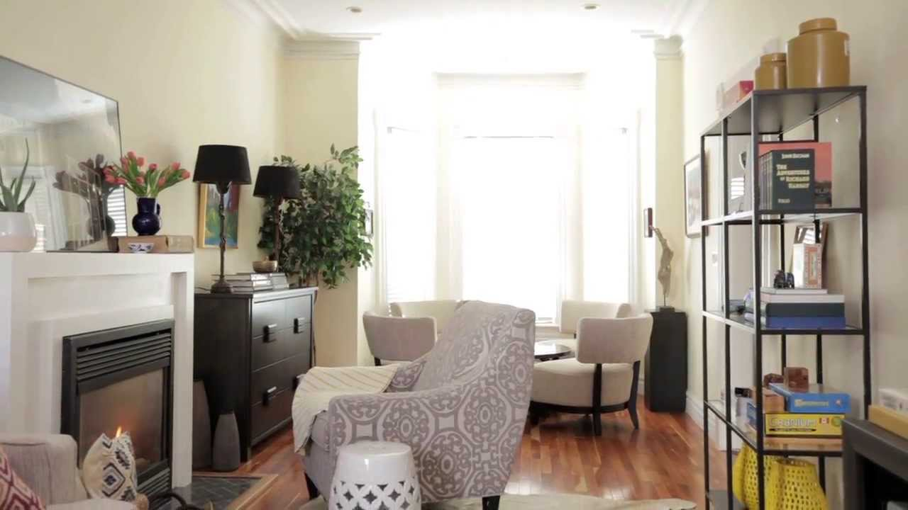 Interior Design  Small & Narrow Family Room Makeover ...