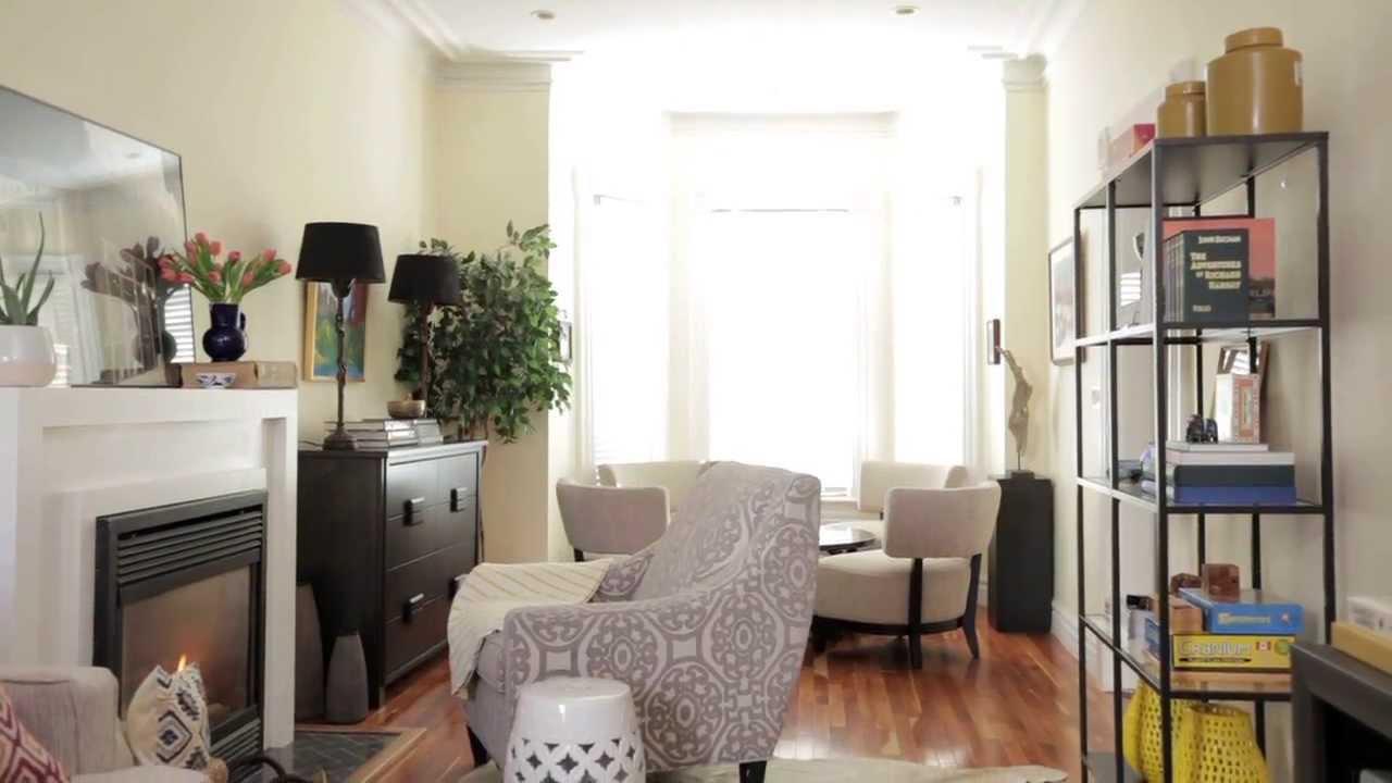 Interior Design  Small & Narrow Family Room Makeover ...