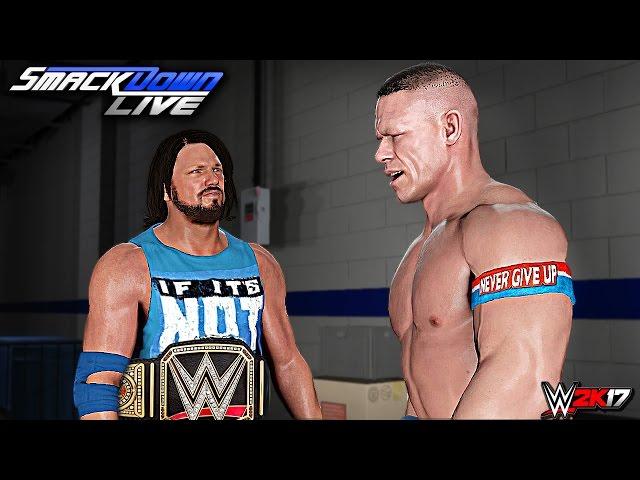 WWE SmackDown 2K17 - AJ Styles vs Dolph Ziggler vs Baron Corbin World Title Match (CUSTOM STORY)