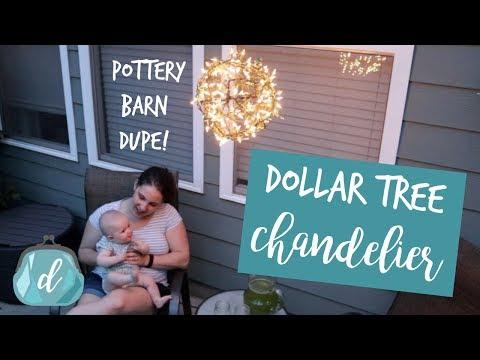 DOLLAR TREE Pottery Barn Inspired Outdoor Lighting   Pendant Chandelier