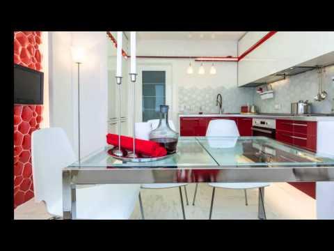 Дизайн кухни 13 кв. м. в бело-красном цвете в стиле минимализм