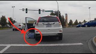 بالفيديو.. امرأة تدهس نفسها بسيارتها