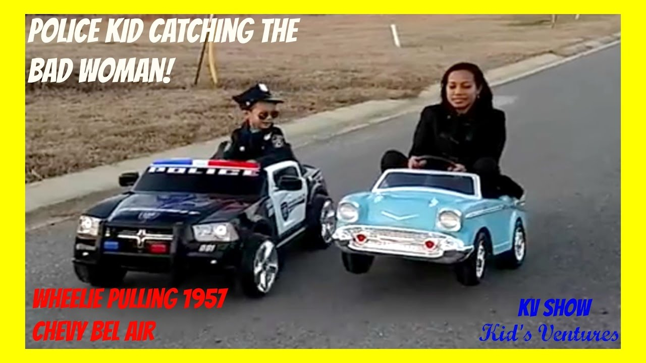 Power Wheel Police Car And Chevy Belair! Police Kid Catch