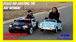 Power Wheel Police Car And Chevy Belair! Police Kid Catch Bad Woman Speeding/Running The Stop Sign! - Stafaband