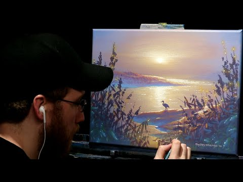 Acrylic Landscape Painting of a Misty Morning with Heron – Time Lapse – Artist Timothy Stanford