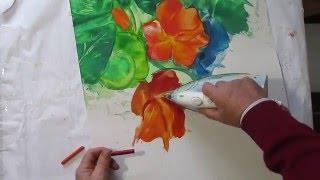 Как рисовать ЦВЕТЫ НАСТУРЦИИ восковыми красками. Урок 73