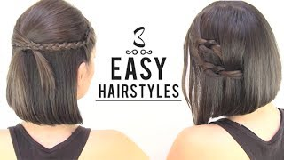 EASY HAIRSTYLES FOR SHORT HAIR(READ ME/EXPLANATIONS ♥ ♥ On today's tutorial I show you three cute simple hairstyles for short hair. If you want to bring fresh ideas to your hair styling, here ..., 2014-01-15T05:30:01.000Z)