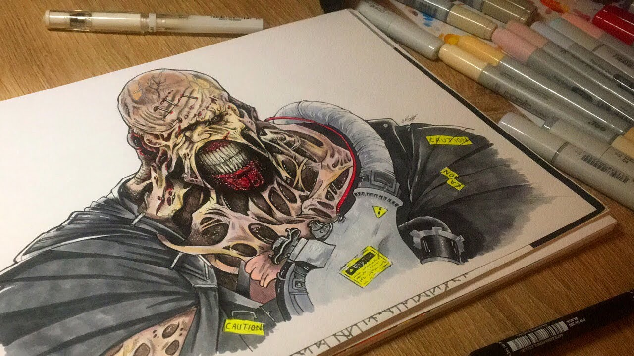 Drawing Nemesis From Resident Evil 3 Remake Speed Drawing Youtube