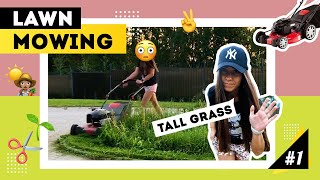 Watch Me Working: 🌱LAWN MOWING  / TALL THICK GRASS CLEAN UP / YARD CARE / RELAX SOUNDS