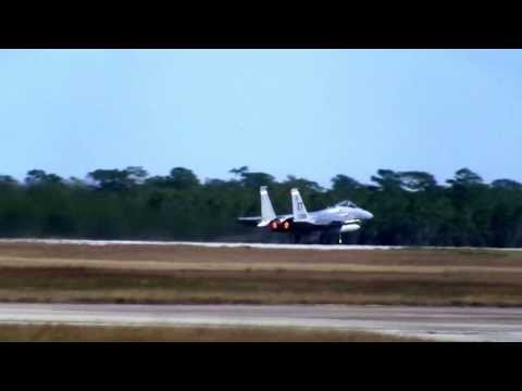 F-15 and F-16 Take Off at Eglin Air Force Base